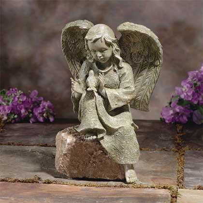 TUR Armory Verdigris Garden Angel with Bird Statue